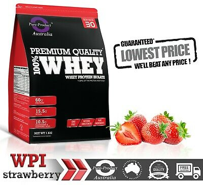 1Kg Whey Protein Isolate Powder  Wpi  Grass-Fed Strawberry