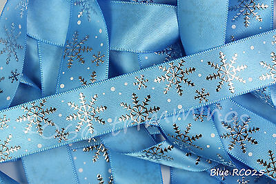 Frozen Blue Snowflakes on Blue Satin Reel Chic Ribbon Collection 22mm Wide
