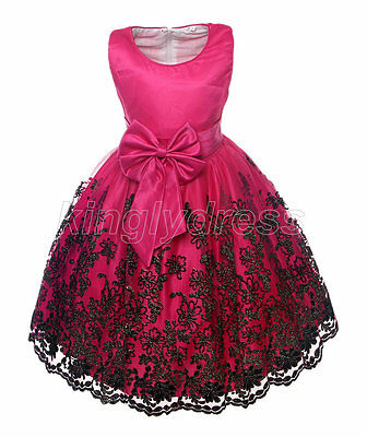 NEW Kid Flower Girl Pageant Wedding Party Dress Cerise Pink 18M - 12 Years Z404