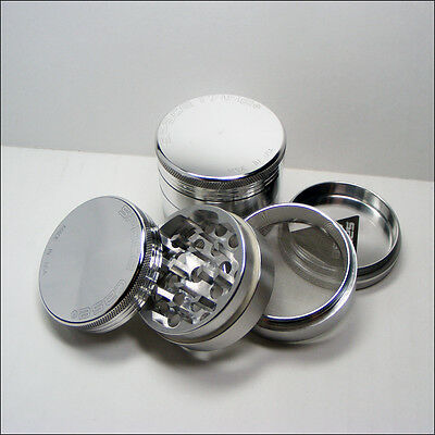 Space Case Silver Small 4 Part Aluminium Grinder - 50mm - High Quality - Genuine