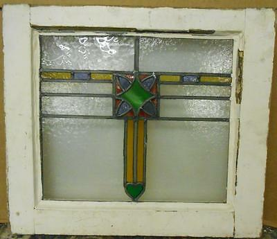 "OLD ENGLISH LEADED STAINED GLASS WINDOW Colorful Abstract with Heart 19"" x 16.5"""