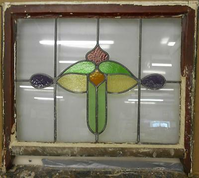 "EDWARDIAN ENGLISH LEADED STAINED GLASS  SASH WINDOW Abstract 28.75"" x 22.75"""