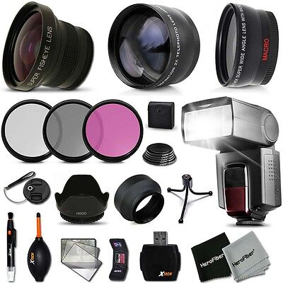Xtech Kit for Canon EOS Rebel T5 Ultimate 58mm FishEye 3 Lens w/ Flash + MORE!