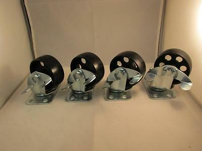 "(4) 3.5"" steel swivel wheels caster casters with brake lock 385 lb capacity each"
