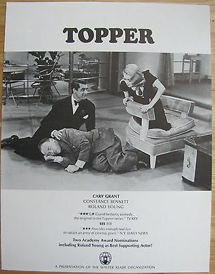 TOPPER Cary Grant Constance Bennett Comedy Classic! VINTAGE MOVIE FLYER Original