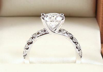 2.80TCW Round Brilliant Cut 14k Solid White Gold engagement Wedding Ring