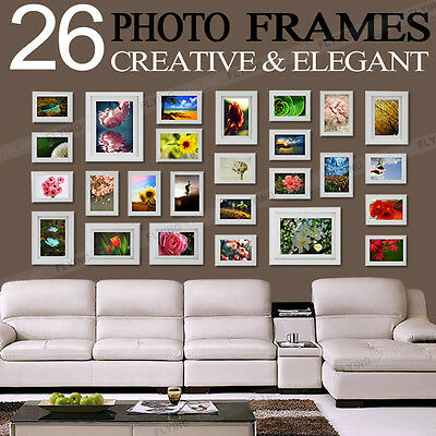 26 Pcs Collage Photo Frame Wall Set Picture Frame Silver Home Decor Gift Present