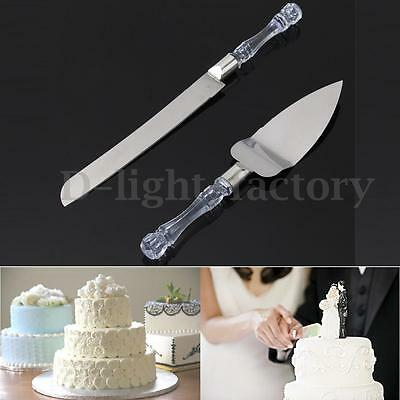 Stainless Steel Wedding Party Cake Cutter Server Set Acrylic Faux Crystal Handle