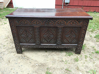 """Superb 52"""" Antique English Coffer Trunk Hand Carved Very Early England 17Th C."""