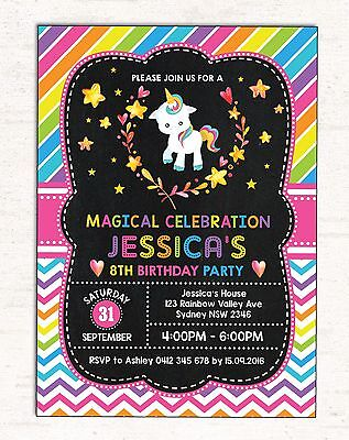 Rainbow Unicorn Invitation Magical Pony Invite First 1st Birthday Girls Party
