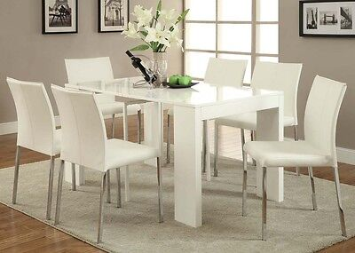 Acme 70995_KIT Modern Lilah White & Chrome Finish Dining Table Set