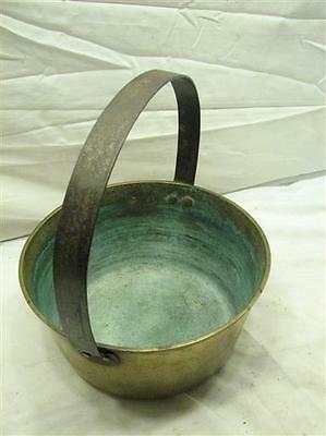 Vintage Hand Wrought/Forged Colonial Solid Brass Fire Bucket Tool Kettle Pot E