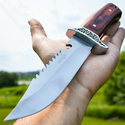 "11"" HUNTING SKINNING Survival Wood FIXED BLADE KNIFE Full Tang Bowie w/ SHEATH"