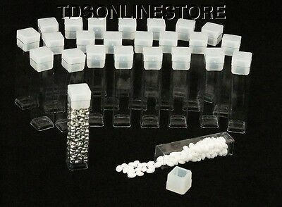 "Package of 100 Square Clear Plastic Storage Tubes 2"" Tall"