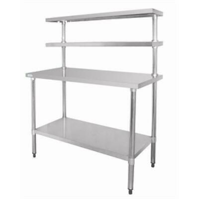 Prep Bench with Undershelf & 2 Upper Shelves, Stainless Steel 1500x1200x600m