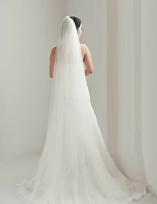 3m Long 1 Tier Ivory (Off White) Cathedral Tulle Wedding Bridal Veil With Comb
