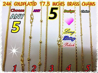 24K Goldplated 5 Design Wholesale Assorted Indian Brass Jewelery Necklace Chain