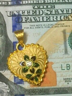 18K 22K 24K Thai Gold Plated Heart Indian AD Bollywood Pendant Locket Jewelry
