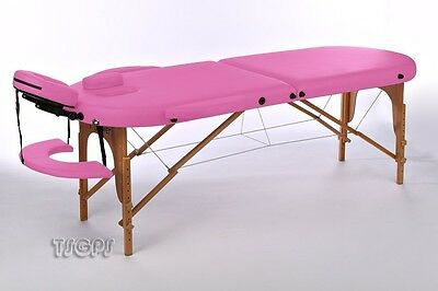 Portable Oval Massage Table Reiki Couch 2-section pink