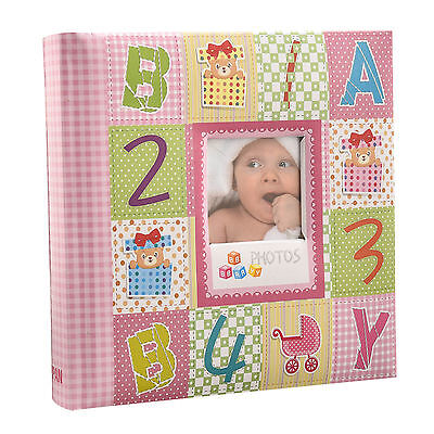 "Pink Baby Alphabet/Number Photo Album Holds 200 Photos 4'' x 6""-Ideal Gift-CC200"