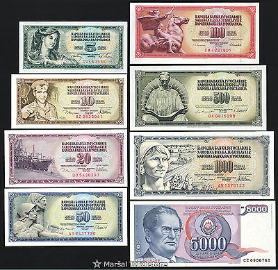 Yugoslavia *SET of 8 notes* 5 10 20 50 100 500 1000 5000 Dinara (1968-85) *UNC*