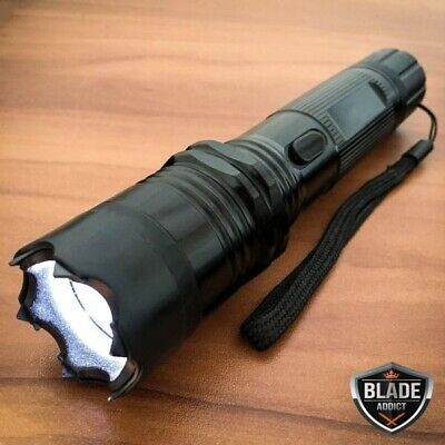 Metal POLICE Stun Gun 265 Million Volt Rechargeable LED Flashlight + Taser Case