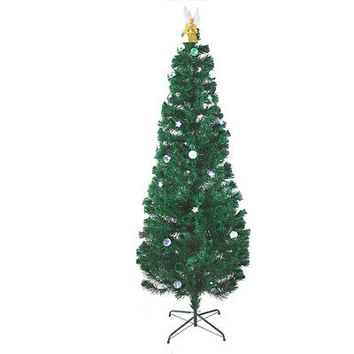 6.5 Ft Pre-Lit Multi Color Led & Fiber Optic Christmas Tree With Angel Topper