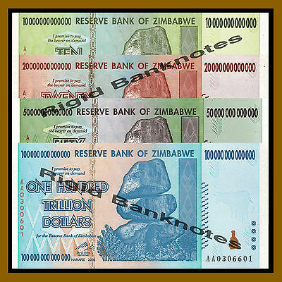Zimbabwe 10 20 50 100 Trillion Dollars Set, 2008 AA Unc