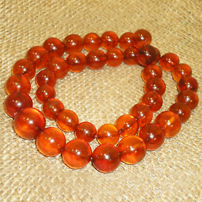 60gr. Very Beautiful Genuine Baltic Honey Egg Yolk Amber Round Beads Necklace 84