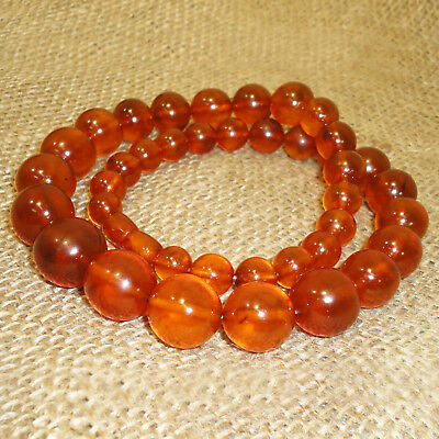 63gr. Vintage Old Genuine Baltic Honey Egg Yolk Amber Round Beads Necklace 85