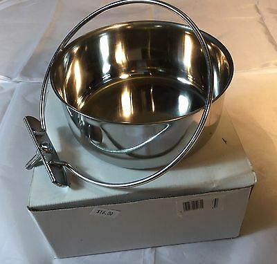 Stainless Steel Coop Cup. Bolt Attachment. 700 ml. Food, Seed Or Water. Birds