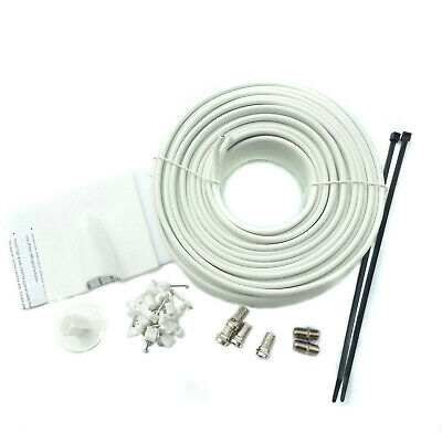 15m White Twin Shotgun Satellite Coax Cable TV extension kit For Sky HD Freesat