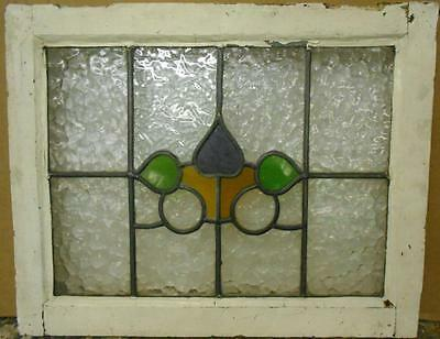 "OLD ENGLISH LEADED STAINED GLASS WINDOW Cute Abstract Design 22.25"" x 17.75"""