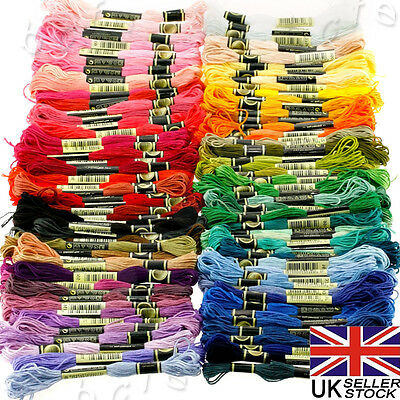100 Mixed Colours CROSS STITCH COTTON SEWING SKEINS EMBROIDERY THREAD FLOSS KIT
