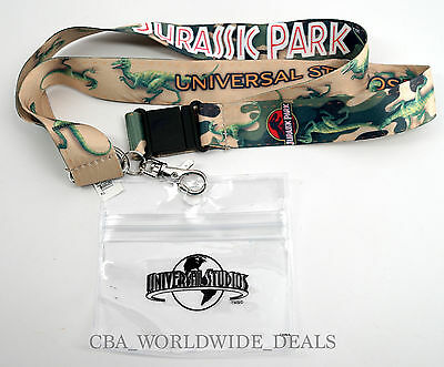 NEW Universal Studios Pin Trading JURASSIC PARK DINO Lanyard Keychain with clip