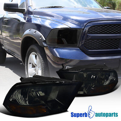 2009 2017 Dodge Ram 1500 2500 3500 Euro Smoke Headlight Head Lamps