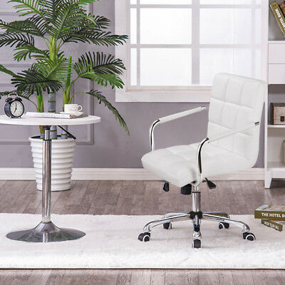 Modern White PU Faux Leather Swivel Office Executive Computer Desk Task Chair