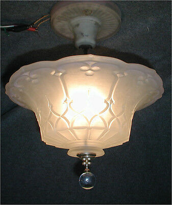 VTG 30S ART DECO original satin glass SHADE CRYSTAL CHANDELIER LIGHT FIXTURE