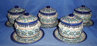 "Polish Pottery/Stoneware 15-Piece Set-Individual Soup Crocks w/Lid & 6"" Plates"