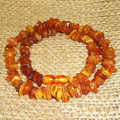15gr. Amazing Beautiful Natural Genuine Baltic Egg Yolk Amber Beads Necklace, 88