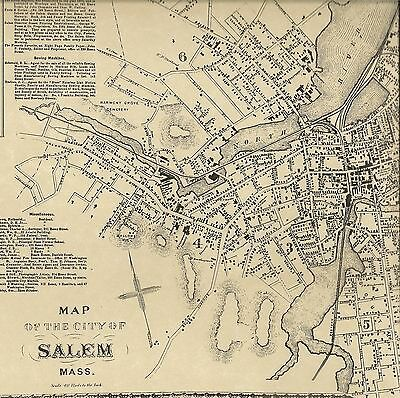 Salem MA 1872  Map with Homeowners Names and Businesses Shown