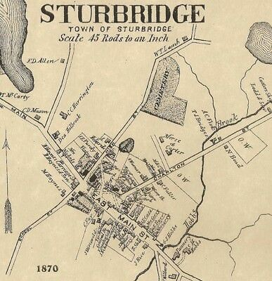 Sturbridge Fiskdale Westville MA 1870 Map with Homeowners Names Shown