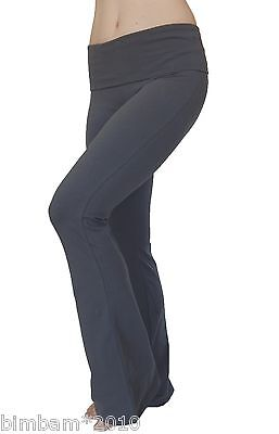Women Long Cotton Spandex Stretch Yoga Pants With Fold Over Waist