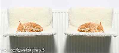 Twin Pack  Cat Pet Radiator Bed Warm Fleece Beds Basket Cradle Hammock (2)