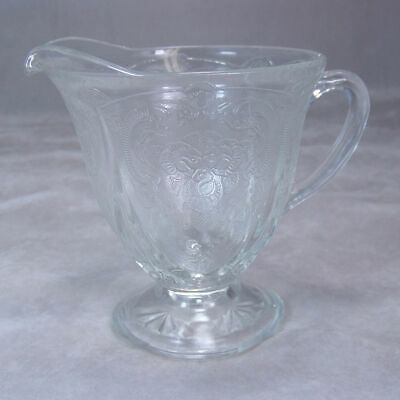 Vintage Depression Glassware Hazel-Atlas Royal Lace Footed Creamer Crystal