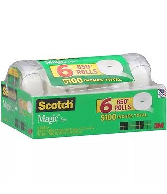 "Scotch Magic Tape with Refillable Dispenser - 3/4 x 850""- 6 Rolls"