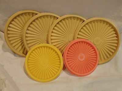 """Lot of 6 Tupperware covers - 6"""" and 4 1/2"""" - Orange and Yellow"""