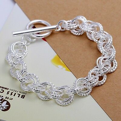 Pretty charms Silver Fashion Wedding women lady solid chain Bracelet jewelry H23