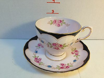Vintage Tuscan Tea Cup And Saucer Very Nice Pink And Black Pattern