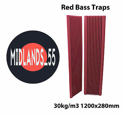 2 Pro RED Acoustic Foam 3 ft 11¼ in (1200mm) Bass Traps Sound Treatment